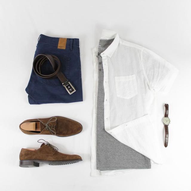 """男生穿""""短袖衬衫""""休闲帅气,夏天有这6套就够了"""
